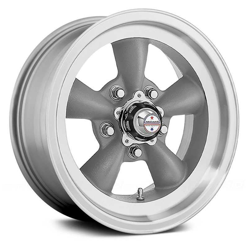 15x8 American Racing VN105D Hot Rod Torq Thrust D Torq Thrust Grey / Machined Lip REV