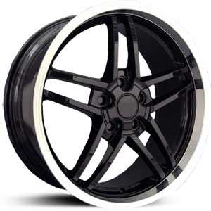 Corvette 07  Wheels Deep Dish Black w/ Machined Lip