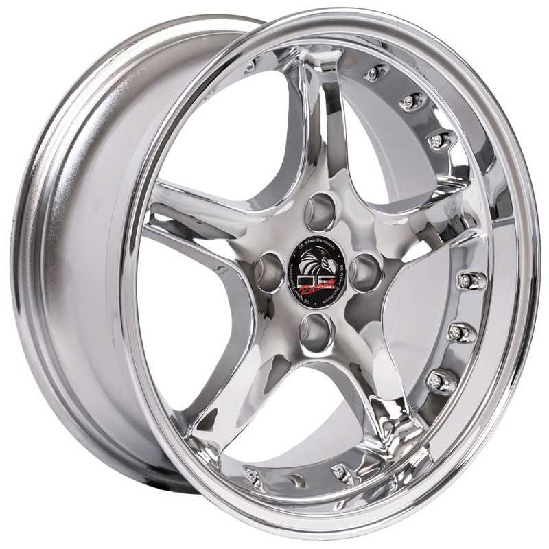 Fits Ford Mustang Cobra Style 4 Lug (FR04) Deep Dish Chrome w/Rivets