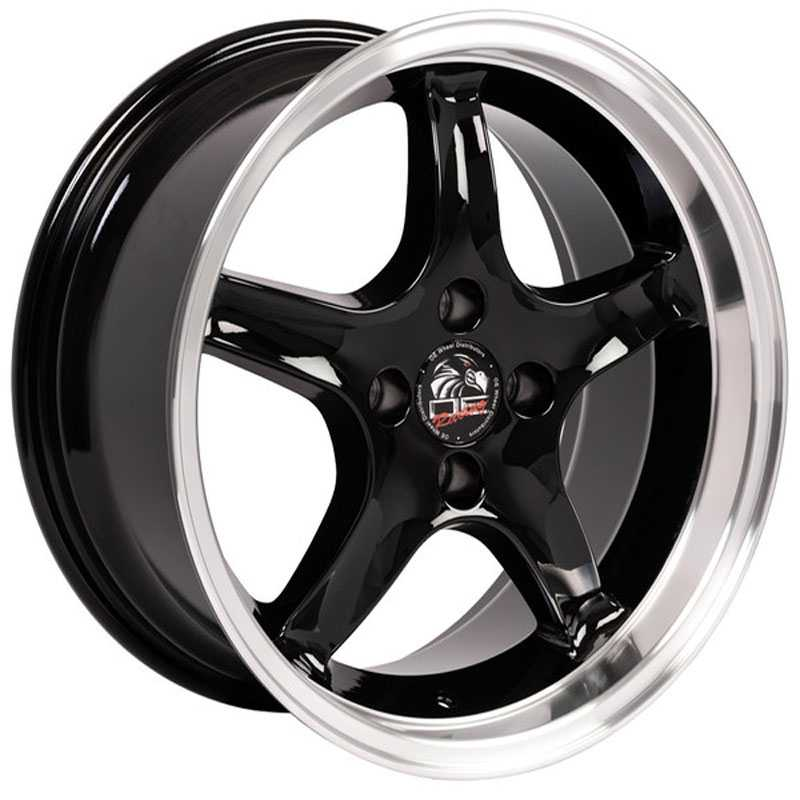 Fits Ford Mustang Cobra Style 4 Lug (FR04) Black Deep Dish Lip