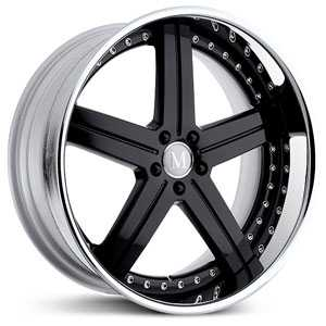 Mandrus Stuttgart  Wheels Gloss Black w/ Chrome Lip