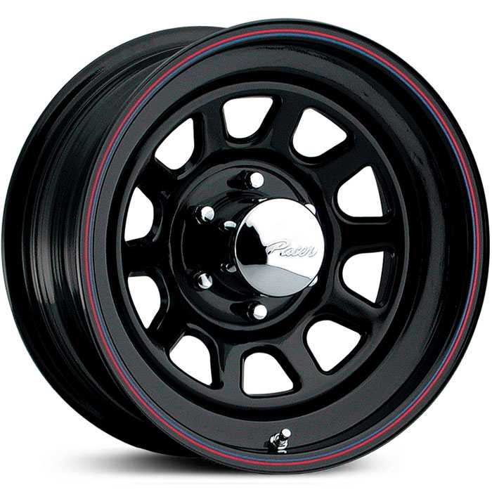 Pacer 342B Daytona  Wheels Black w/ Blue & Red Stripe