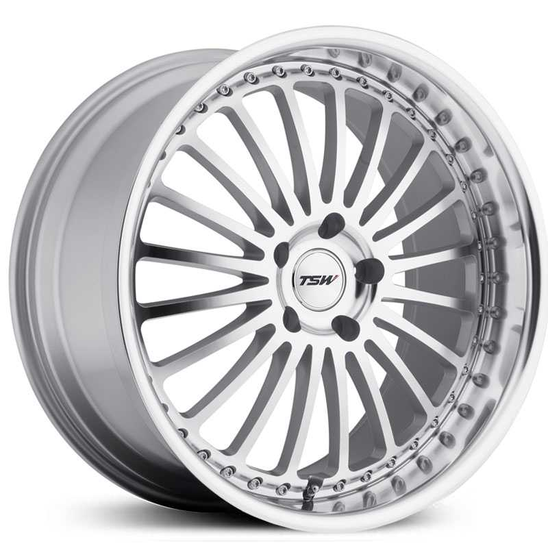 TSW Silverstone  Wheels Silver w/ Mirror Cut Lip