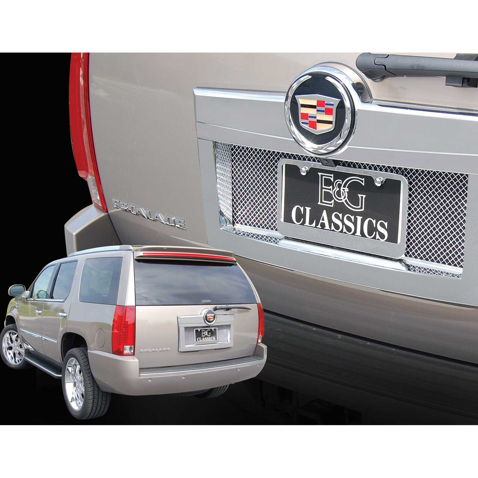 E g classics 2007 2014 cadillac escalade accessories rear tag surround w mesh insert 1009 0710 07