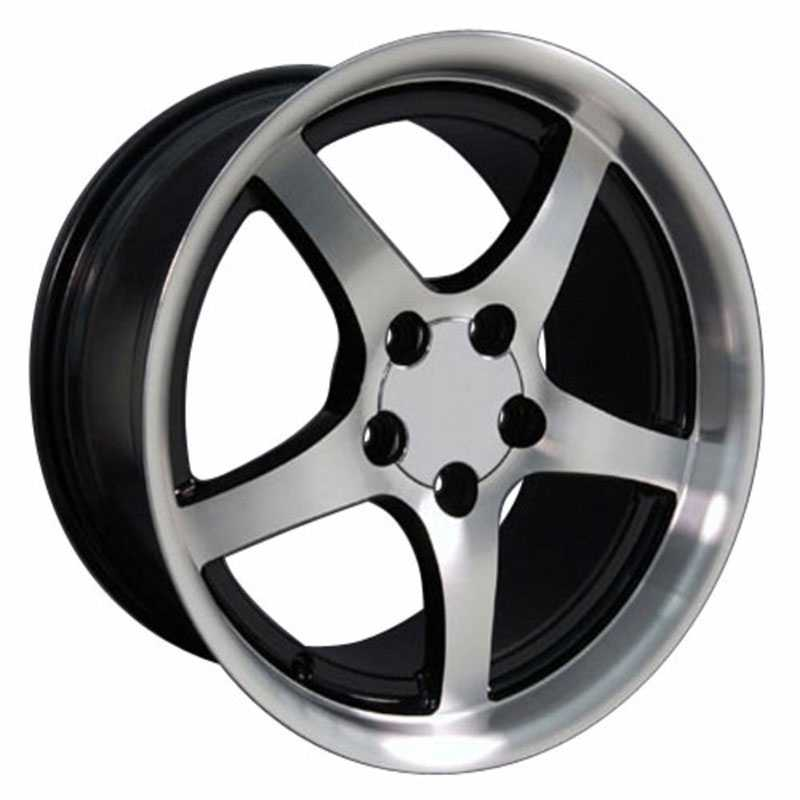 Corvette C5 Style (CV05)  Wheels Deep Dish Black w/Machined Face