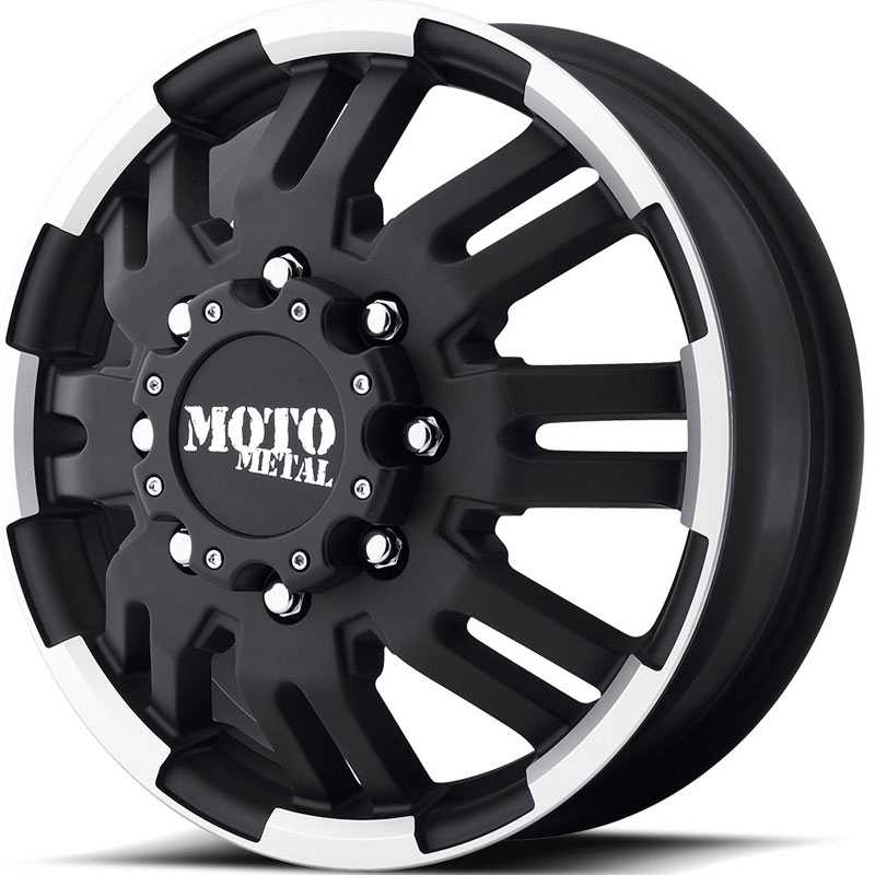 MO963 Front Dually Matte Black Machined