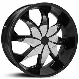 20x7.5 RockStarr Firehouse 608 Black Chrome Inserts MID