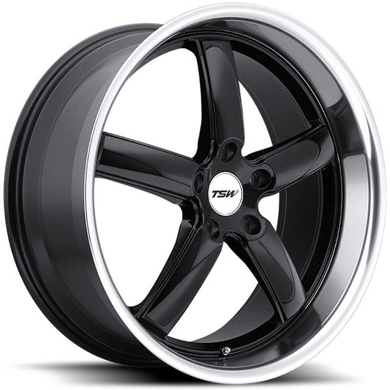 TSW Stowe  Wheels Gloss Black w/ Mirror Cut Lip