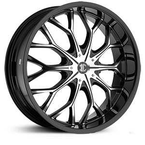 20x8.0 2CRAVE N09 Glossy Black / Machined Face / Glossy Black Lip RWD