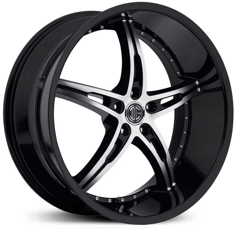 18x7.5 2CRAVE N14 Glossy Black / Machined Face / Glossy Black Lip RWD