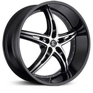 24x9.0 2CRAVE N25 Glossy Black / Machined Face / Glossy Black Lip RWD