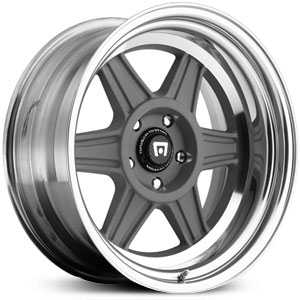 17x9.5 Motegi MR224 2 Piece Mag Gray w/ Polished Lip MID
