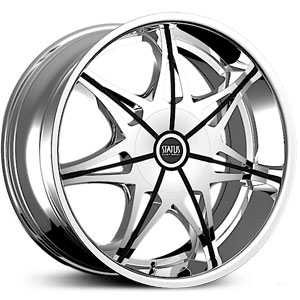 22x9 Status Crown S828 Chrome w/ Gloss Black Inserts HPO