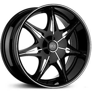 26x10 Status Crown S828 Gloss Black w/ Chrome Inserts Machined Pin RWD