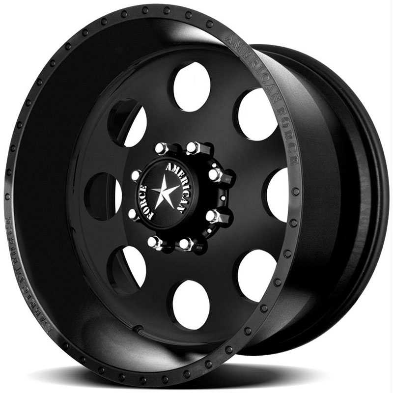 22x14 American Force Wheels CLASSIC SS8 Black Flat-Solid REV