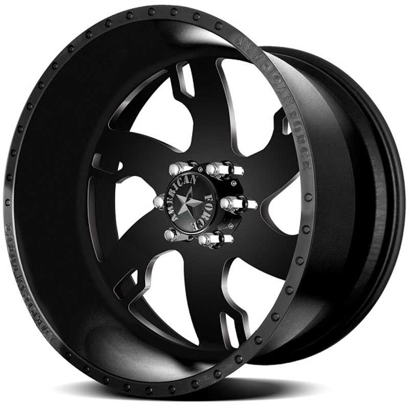 24x12 American Force Wheels RAPTOR SS6 Black Flat-Machined Windows REV