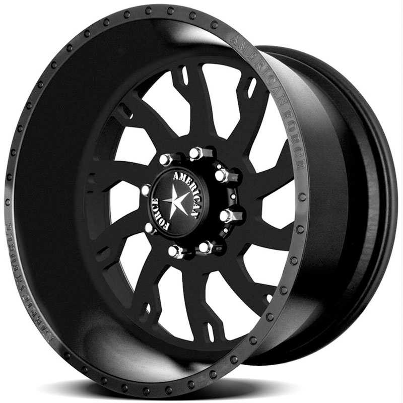 22x11 American Force Wheels RAPTOR SS8 Black Flat-Solid RWD