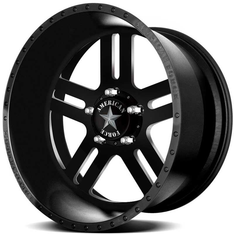 22x11 American Force Wheels REBEL SS5 Black Flat-Machined Windows RWD