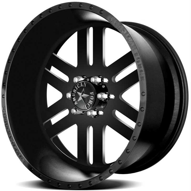 24x12 American Force Wheels REBEL SS6 Black Flat-Machined Windows REV