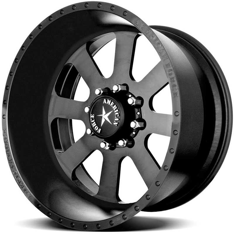 20x10 American Force Wheels RECON SS8 Black Flat-Solid REV