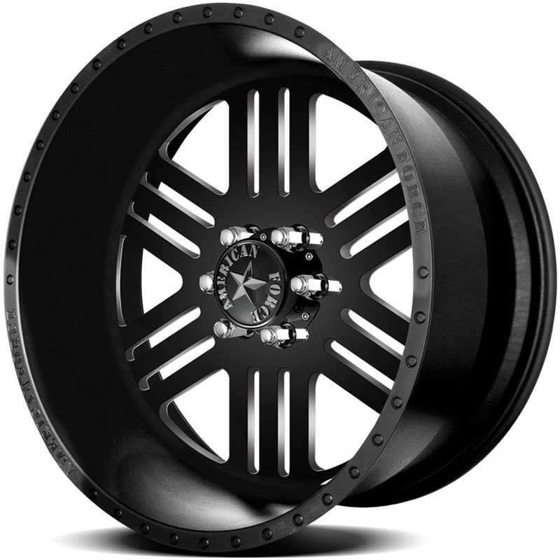 24x12 American Force Wheels RUSH SS6 Black Flat-Machined Windows REV