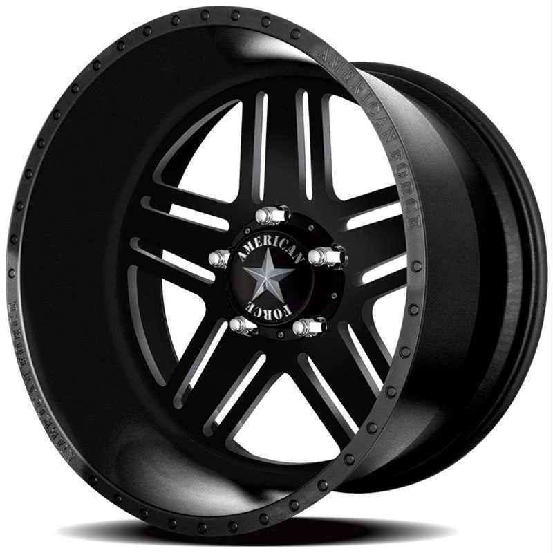 20x14 American Force Wheels TITAN SS5 Black Flat-Machined Windows REV