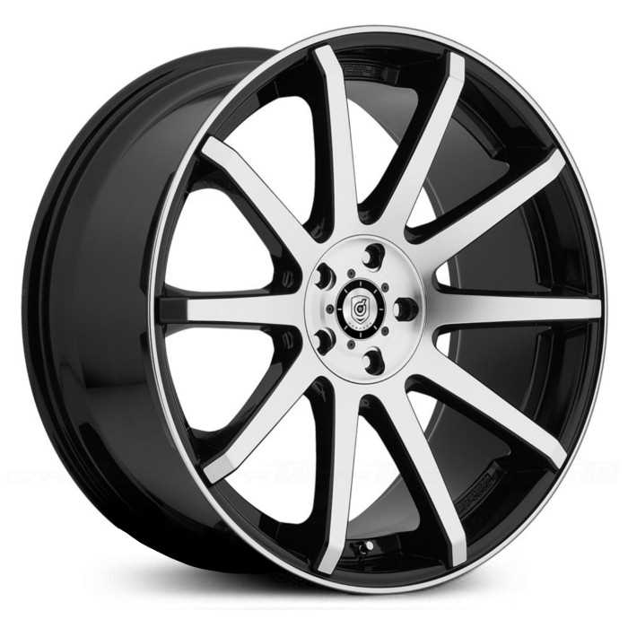 Dropstar 643M  Wheels  Mirror Machined Face & Lip w/ Gloss Black Accents