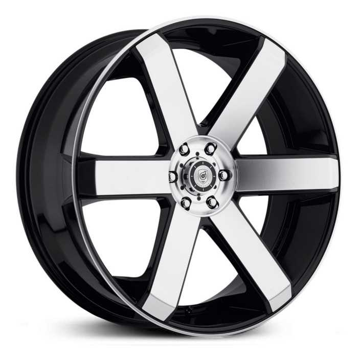 Dropstar 644M  Wheels  Mirror Machined Face & Lip w/ Gloss Black Accents