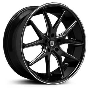 Lexani R-12 Twelve  Wheels Gloss Black/CNC Milled Accents