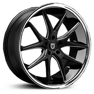 Lexani R-12 Twelve  Wheels Gloss Black/CNC Milled Accents w/ SS Lip