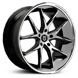 Lexani R-12 Twelve  Wheels Gloss Black Machined w/ SS Lip