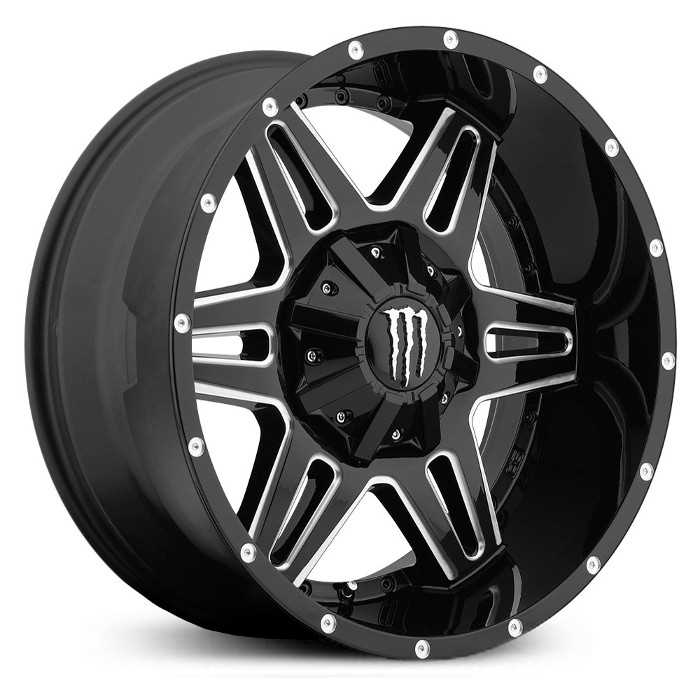 Monster Energy 538BM  Wheels Gloss Black w/ CNC Milled Accents & Chrome Cap