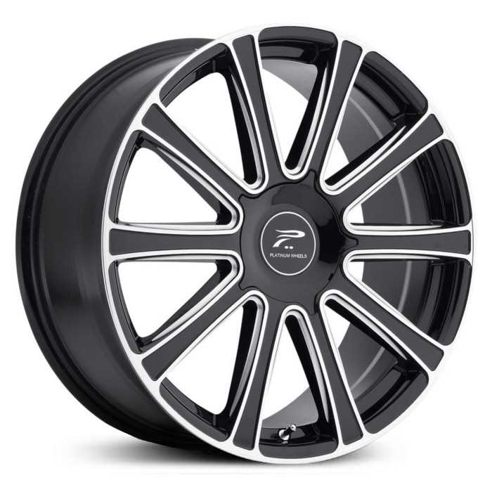 Platinum 410BM Divine  Wheels Gloss Black w/ Milled Accents & Clear-Coat