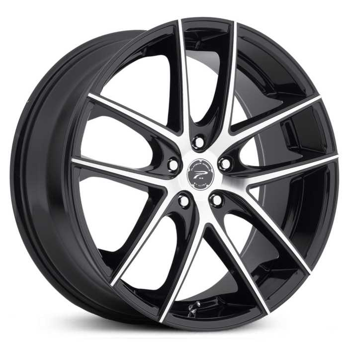 Platinum 412U Opulent  Wheels Gloss Black w/ Diamond Cut & Clear-Coat