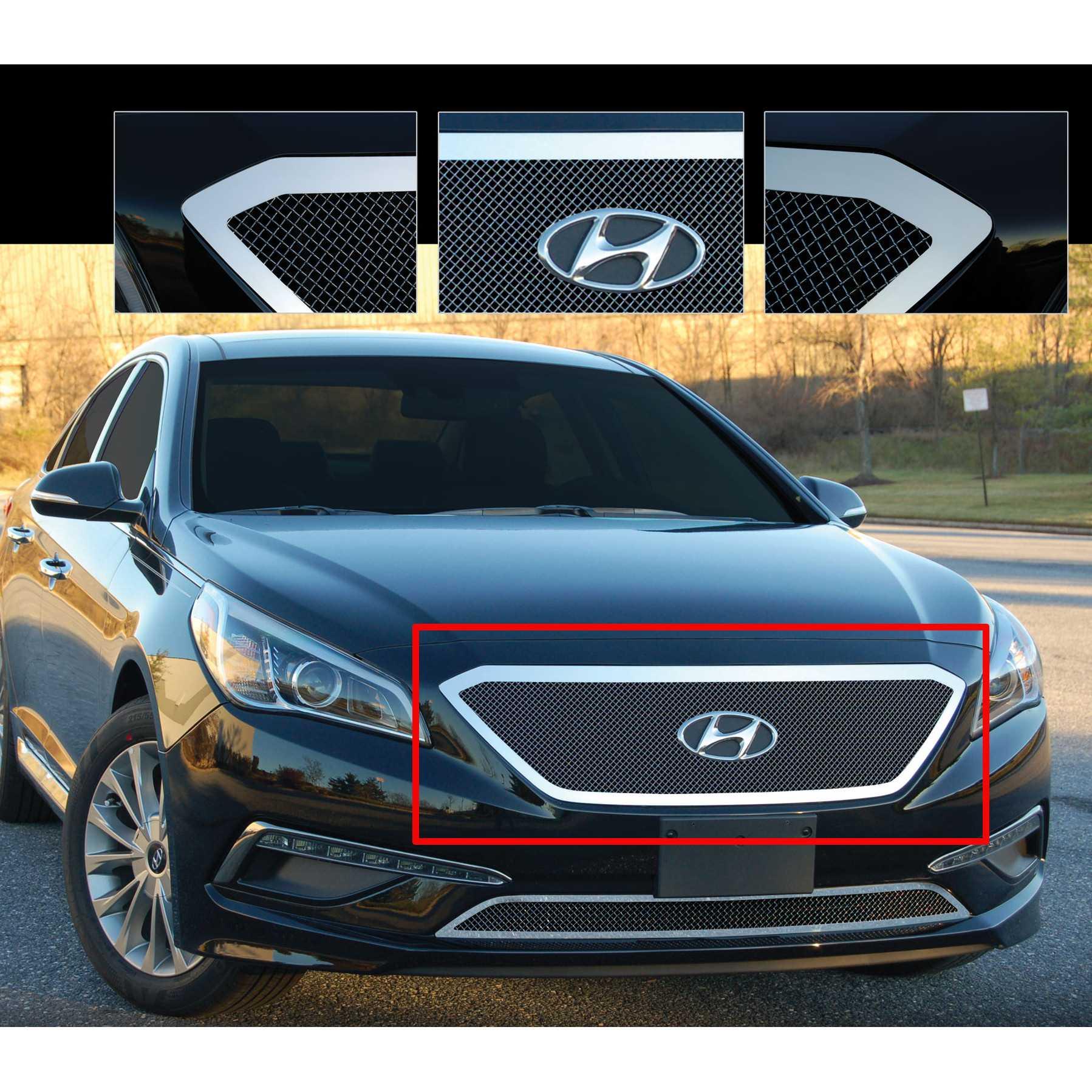 E G Clics 2017 2016 Hyundai Sonata Grille Upper Black Ice Fine Mesh 1221 B10u 15