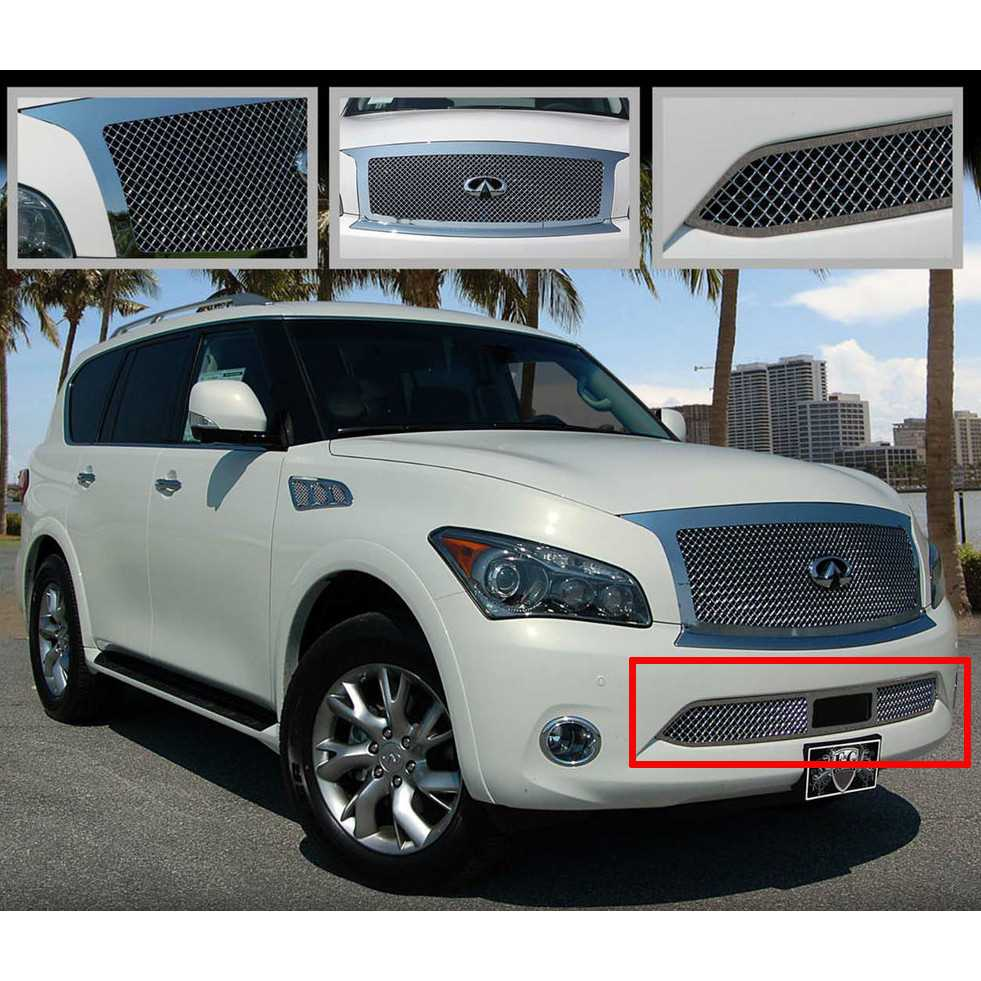Eg classics 2011 2014 infiniti qx56 grille lower only heavy mesh eg classics 2011 2014 infiniti qx56 grille lower only heavy mesh grille for models with adaptive cruise 1365 010l 11ac vanachro Image collections