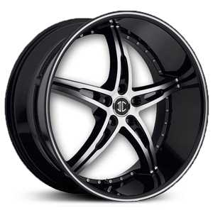 20x10.0 2Crave No.14 Glossy Black/Machined Face & Stripe MID