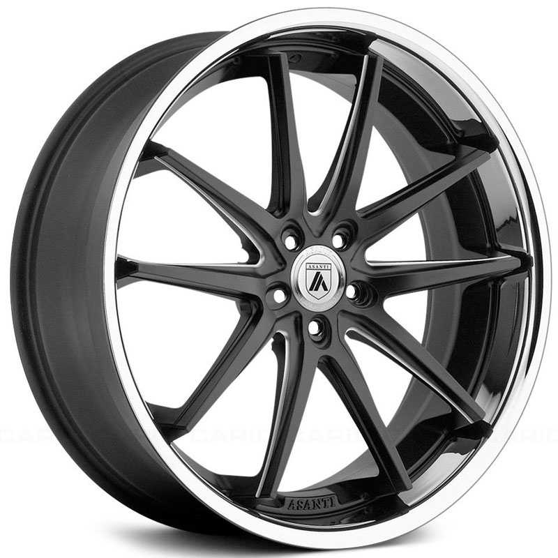 Asanti Black Label ABL-5  Wheels Matte Black Milled W/ SS Lip
