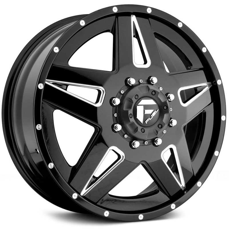 Fuel D254 Full Blown Dually  Wheels Black Milled (Front)