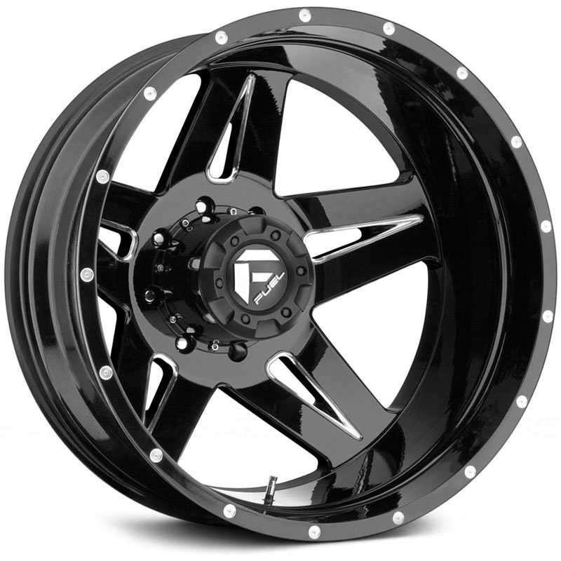 Fuel D254 Full Blown Dually  Wheels Black Milled (Rear)