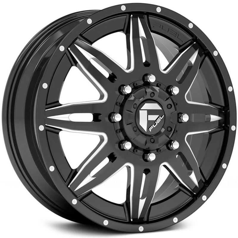 Fuel D267 Lethal Dually  Wheels Black Milled (Front)