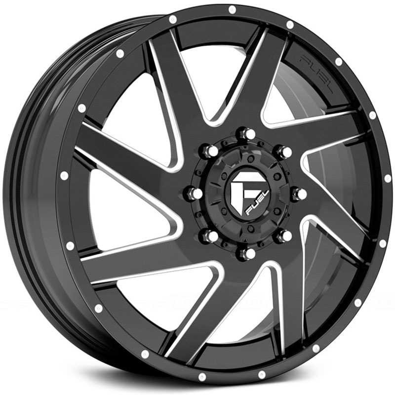 Fuel D265 Renegade Dually  Wheels Black Milled (Front)