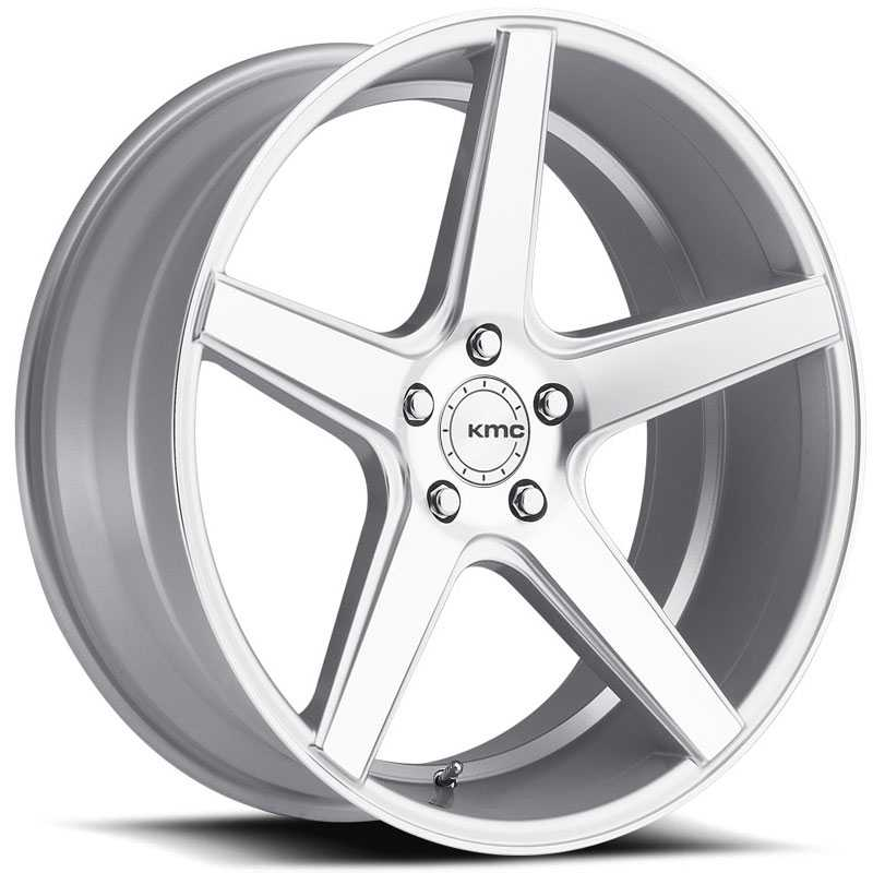 KMC KM685 District  Wheels Silver W/ Machined Face