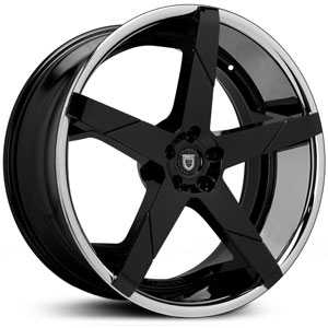Lexani Invictus-Z  Wheels Glossy Black w/ Stainless Steel Lip