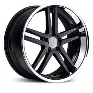 Mandrus Simplex  Wheels Gloss Black W/Chrome Stainless Lip
