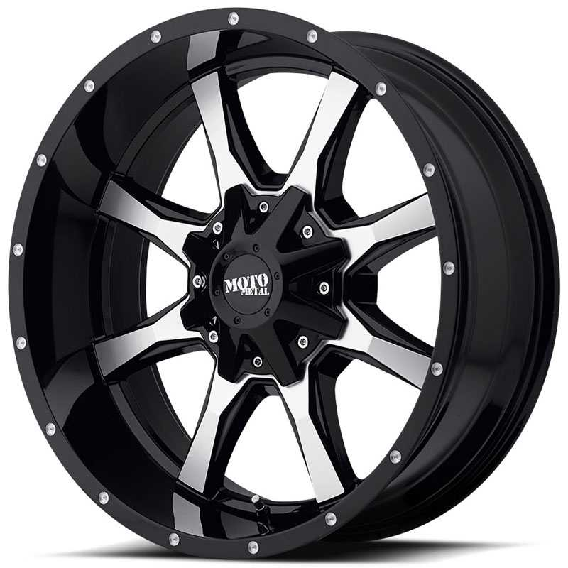 20x9 Moto Metal MO970 Gloss Black W/ Machined Face RWD