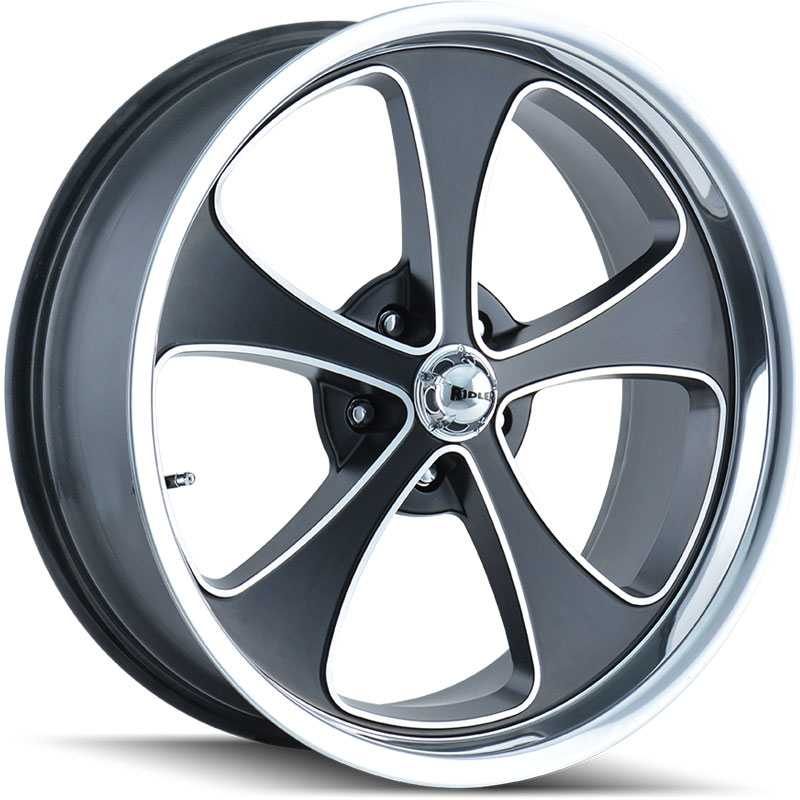 Ridler 645  Wheels Matte Black/Machined Face/Polished Lip