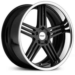 TSW Nouvelle  Wheels Gloss Black w/Chrome Stainess Lip