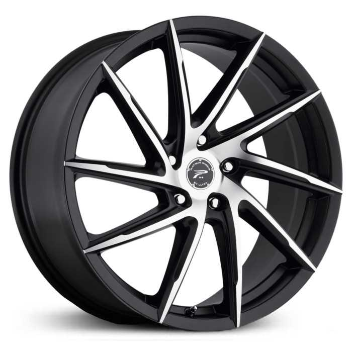 Platinum 433U Hawk  Wheels Black w/ Diamond Cut Face & Clear-Coat