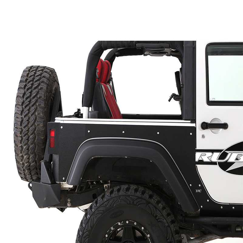 smittybilt armor xrc flat armor skins rear 2007 2015 jeep wrangler jk 2 4 door 76981 black. Black Bedroom Furniture Sets. Home Design Ideas